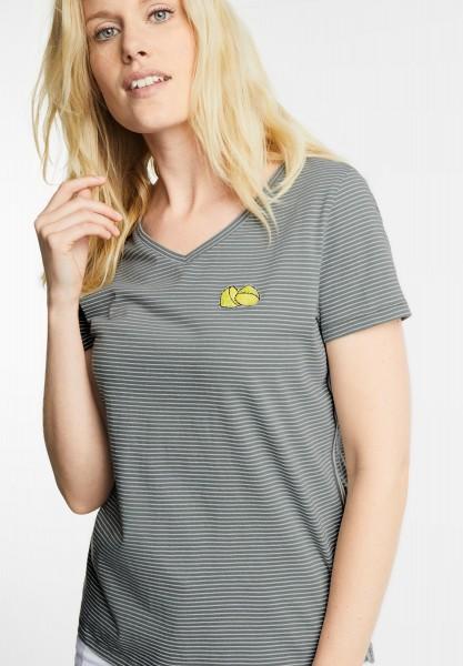 CECIL - Lurex Streifen Shirt in Palm Green