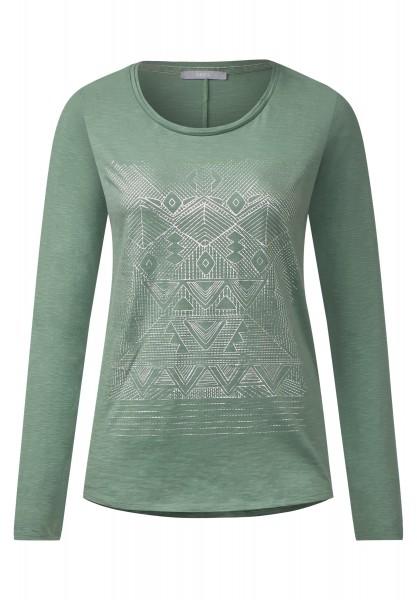 CECIL - Langarmshirt mit Ethnoprint Loden Frost Green
