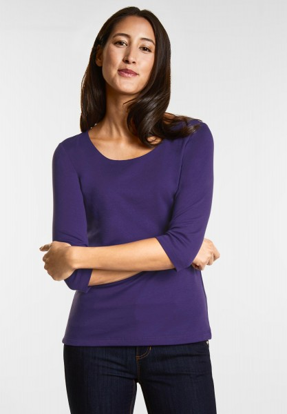 Street One - Schmales Basic Shirt Pania in Midnight Purple