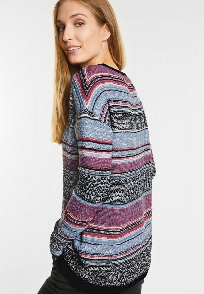 CECIL - Multicolor Boucle-Pullover in Indigo Light Blue