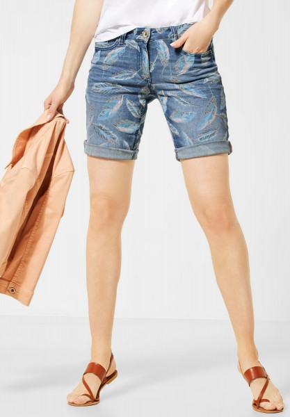 CECIL - Denim-Shorts mit Muster in Authentic Used Wash Mid Blue