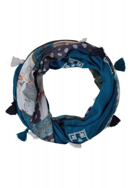 CECIL - Patchprint-Loop mit Quasten Celestial Blue
