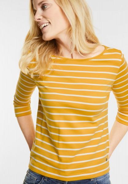 CECIL - Streifenshirt im Basic Style in Golden Lemonade