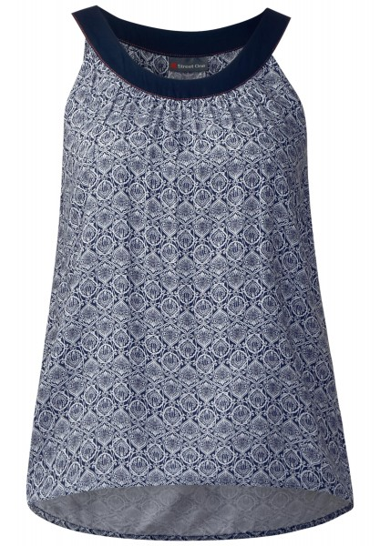 Street One - Ornament Print Top Evolet in Night Blue