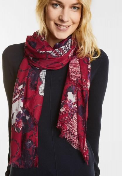 CECIL - Zarter Ornamentprint Schal in Cranberry Red