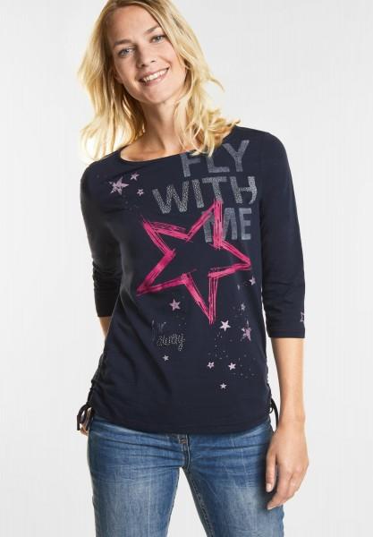 CECIL Träumerisches Print Shirt in Deep Blue