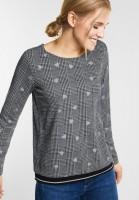 Street One - Karo-Style Shirt mit Herzen in Black