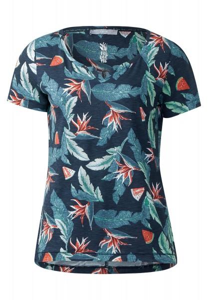 CECIL - Weiches Tropical Print Shirt in Deep Blue
