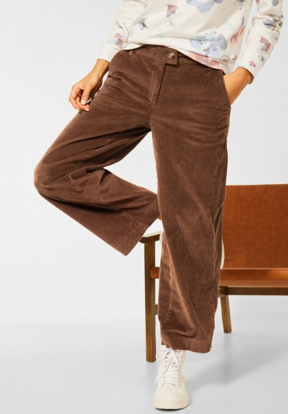 CECIL - Wide Leg Cord Hose in Toffee Brown