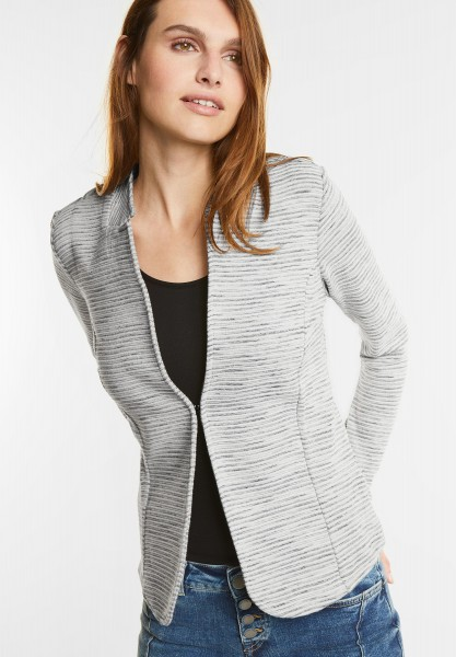 Street One - Kurzer Struktur Sweatblazer in Shell White Melange