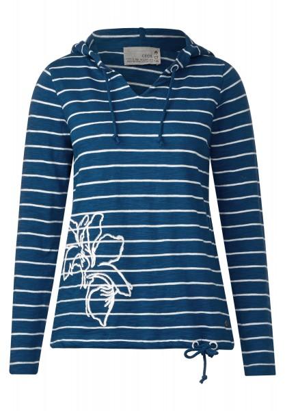 CECIL - Hoody mit Streifen und Blume in Deep Sea Blue