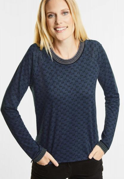 CECIL - Sportives Raglan Printshirt in Deep Blue Melange