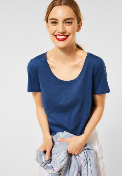 Street One - Basic T-Shirt in Unifarbe in Foggy Blue