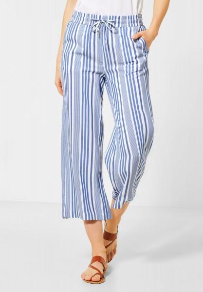 CECIL - Wide Leg Hose mit Streifen in Santorini Blue