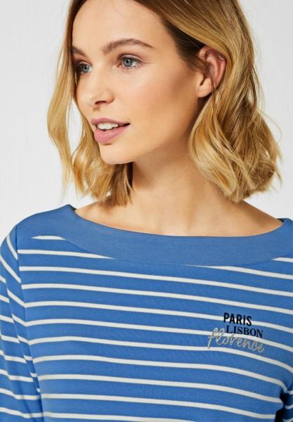 Street One - Shirt mit Streifenmuster in Spring Blue