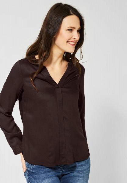 CECIL - Unifarbene Bluse in Coffee Bean Brown