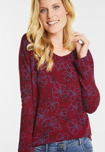 CECIL - Melange Shirt mit Blüten in Cranberry Red Melange