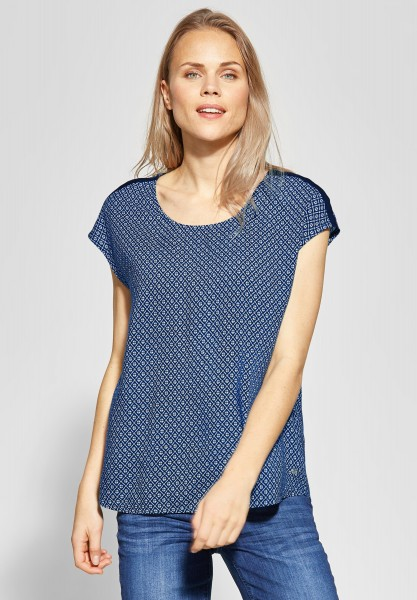 CECIL - Shirtbluse mit allover Print in Deep Blue