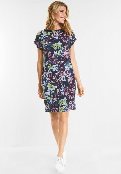 CECIL - Blumenprint Kleid Josefin in Deep Blue