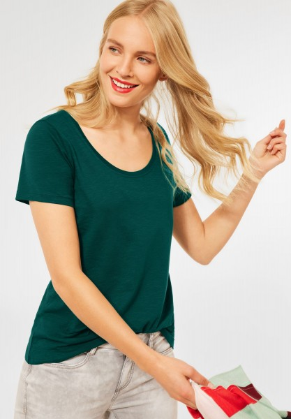 Street One - Basic T-Shirt in Unifarbe in Ivy Green