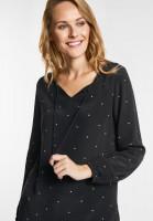 CECIL - Lange Punkteprint Bluse in Black
