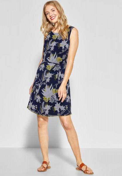 Street One - Chiffon Kleid mit Blumen in Deep Blue