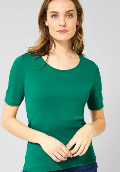 CECIL - Organic Halbarmshirt Lena in Lucky Clover Green