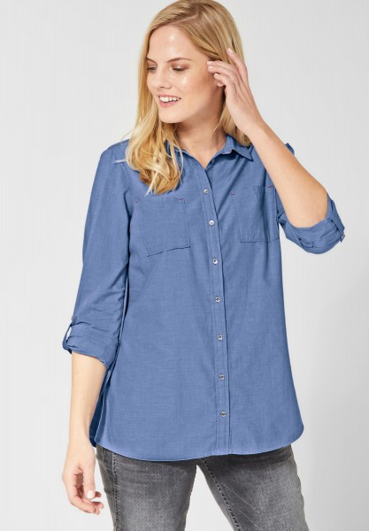 CECIL - Lange Chambray Bluse in Blouse Blue