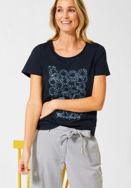 CECIL - T-Shirt mit Frontprint in Deep Blue