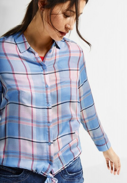 Street One - Bluse mit Karomuster in Cosmic Blue