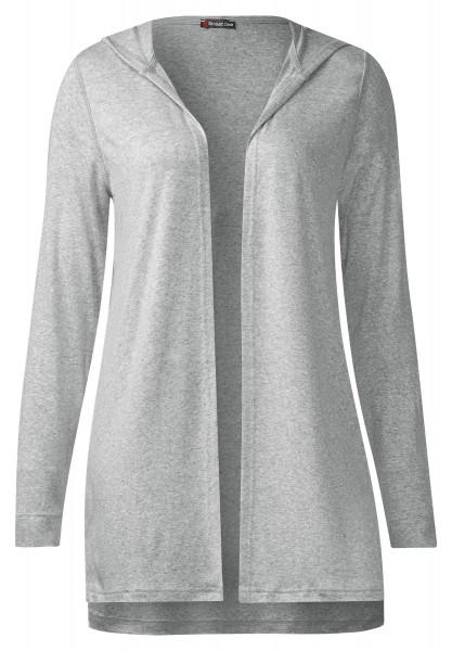 Street One - Lange Hoody Shirtjacke Mila in Cyber Grey Melange