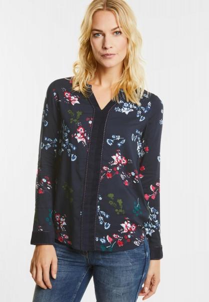 CECIL - Blüten Print Samt Bluse in Deep Blue