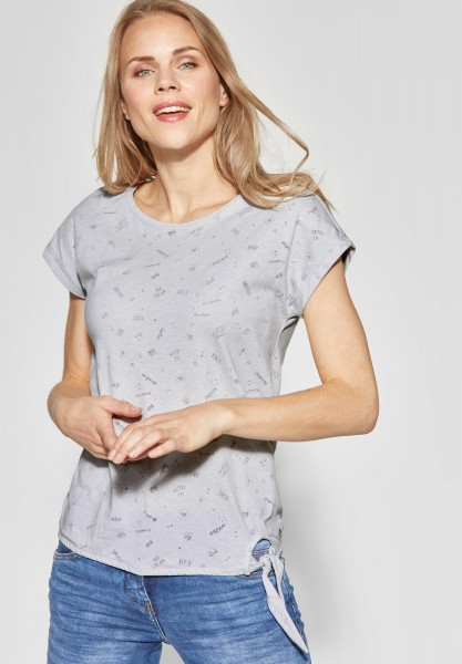 CECIL - Shirt mit allover Print in Cool Silver Melange