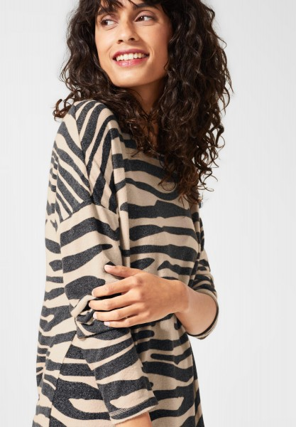 Street One - Shirt mit Animal Print in Bisquit Melange