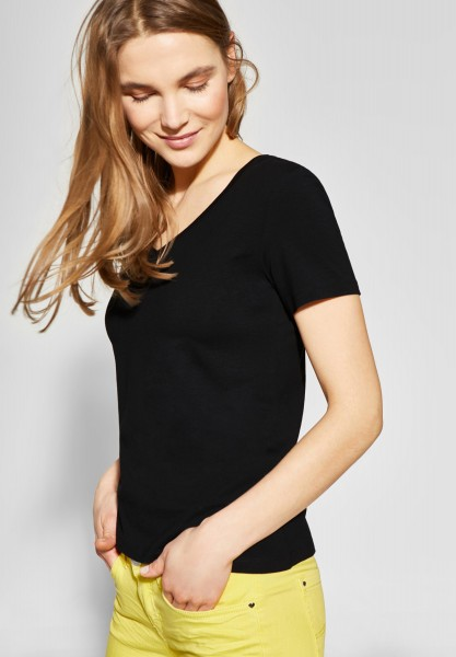 Street One - Shirt mit V-Neck Rhea in Black