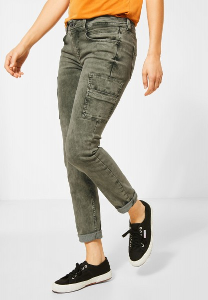 Street One - Colour-Denim im Cargo-Style in Misty Green Colour Denim