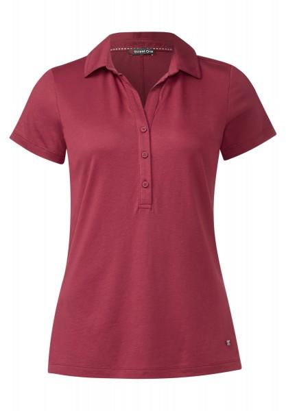 Street One - Kurzarm-Poloshirt Ebony Royal Blush