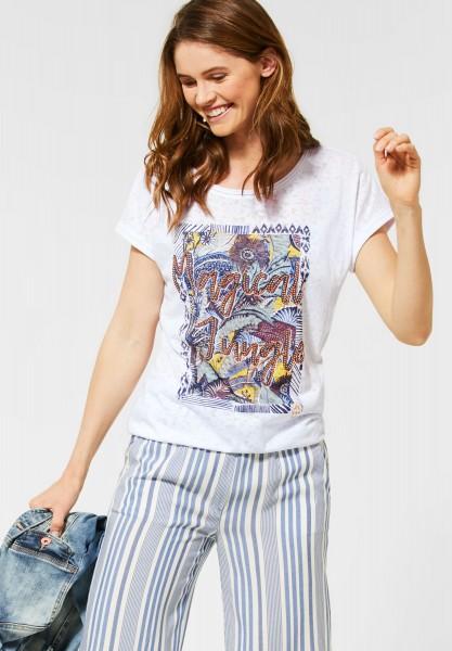 CECIL - T-Shirt mit Dschungelprint in White