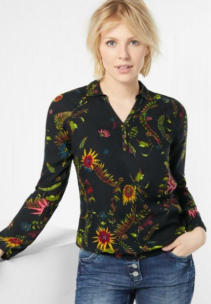 CECIL - Bluse mit tropischen Blüten in Black
