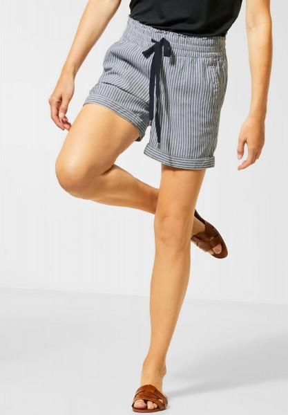 Street One - Paperbag-Shorts mit Streifen in Deep Blue