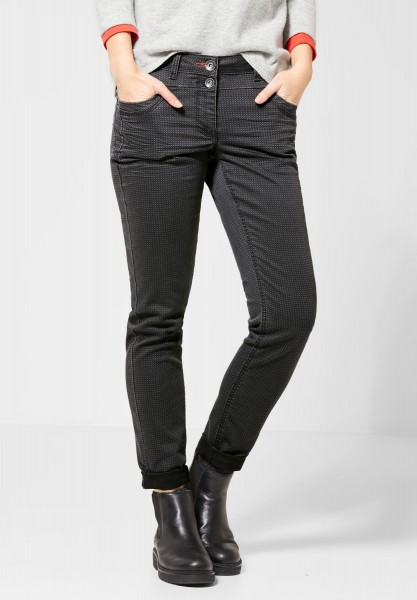 CECIL - Casual Fit Hose mit Muster in Dark Graphite Grey