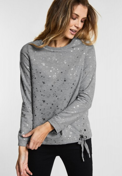 CECIL - Sweatshirt mit Sternenprint in Mineral Grey Melange
