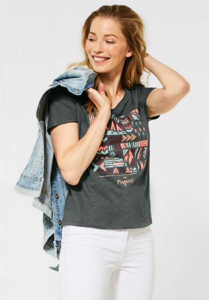 CECIL - T-Shirt mit Ethno-Print in Slate Green