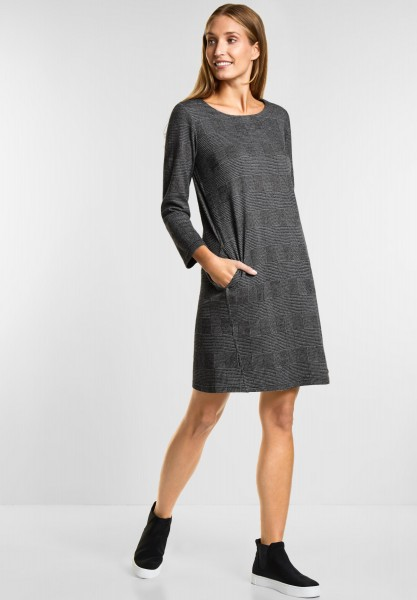 CECIL Jersey Karo Kleid in Black