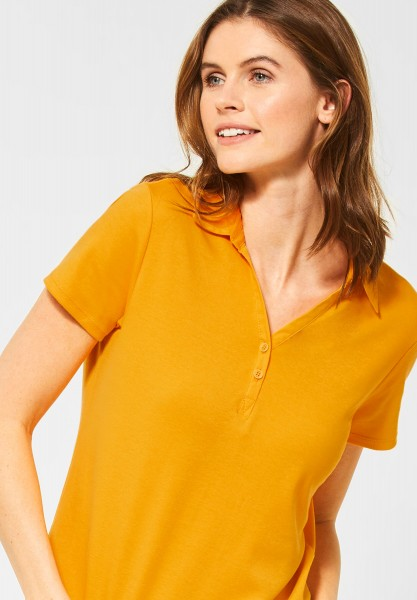 CECIL - Polo-Shirt in Unifarbe in Mango Yellow