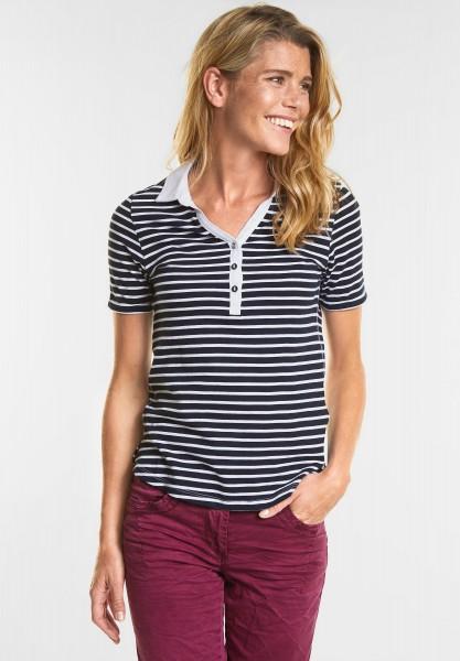 CECIL - Weiches Streifen Polo-Shirt in Deep Blue