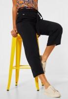 Street One - Loose Fit Hose mit Wide Legs in Black