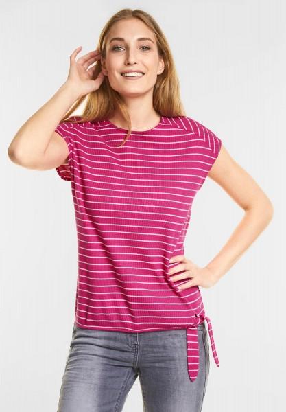 CECIL - Kurzarm Streifen Shirt in Galaxy Pink