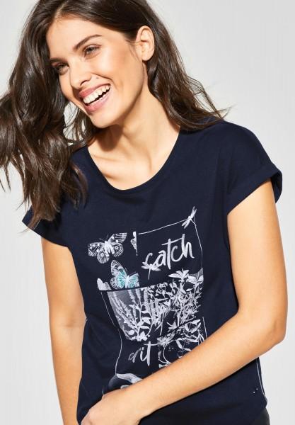 CECIL - Shirt mit Wording und Print in Deep Blue