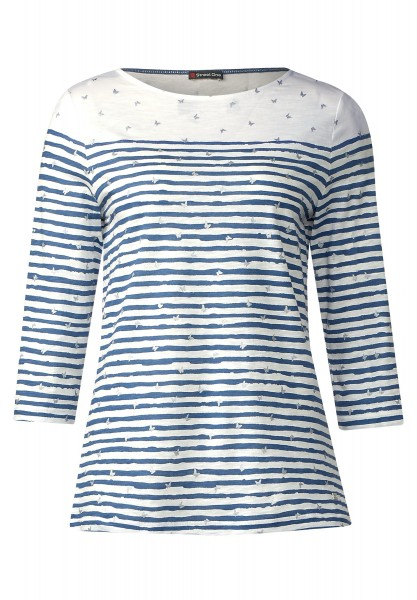 Street One - 3/4-Arm Streifenshirt Lina in Nordic Blue